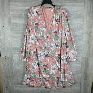 Glamorous Curve Blush Floral Long Sleeve Dress